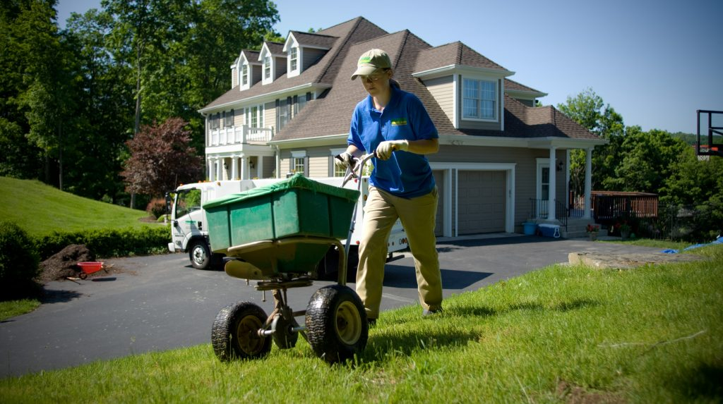 female lawn specialist seeding